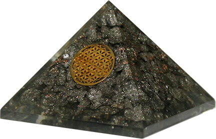 Orgoniet Piramide met Pyriet Groot - Flower of Life