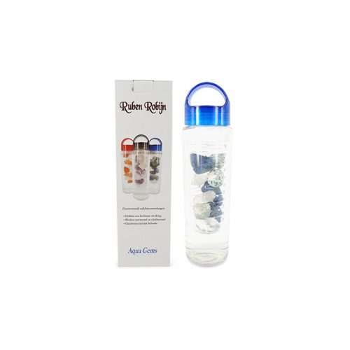 Edelsteen Waterfles Bergkristal, Boomagaat en Dumortieriet - Anti-Stress - 700 ml