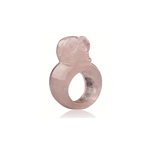 Schedel Ring Roze Kwarts (Maat 17-18)