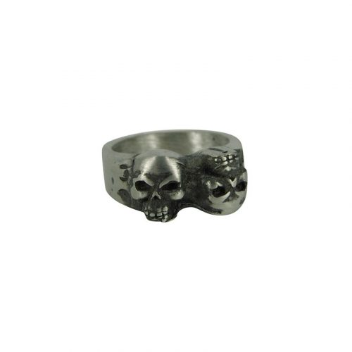 Schedel Ring Staal Dubbele Skull