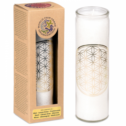 Geurkaars Stearine Flower of Life - Wit (100 Branduren)