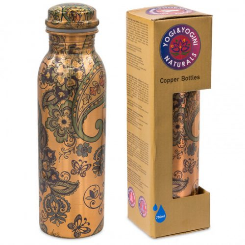 Yogi & Yogini Koperen Waterfles Paisley Geprint - 750ml