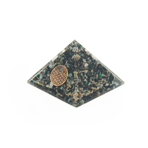 Orgone Piramide - Chrysokolla Flower of Life (70 mm)
