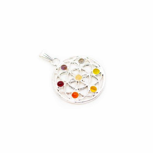 Chakra Flower of Life Hanger Mini Stenen