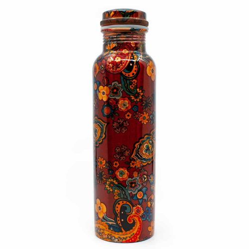 Spiru Koperen Waterfles Floral Painting geprint - 900 ml
