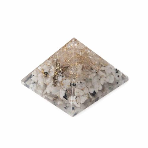Orgonite Piramide Regenboog Maansteen/ Bergkristal - Engel - (70 mm)