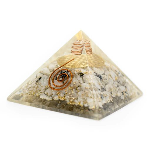 Orgonite Piramide Regenboog Maansteen - Flower of Life - (70 mm)
