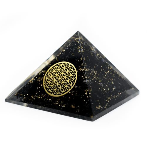 Orgonite Piramide Zwarte Toermalijn - Flower of Life - (40 mm)