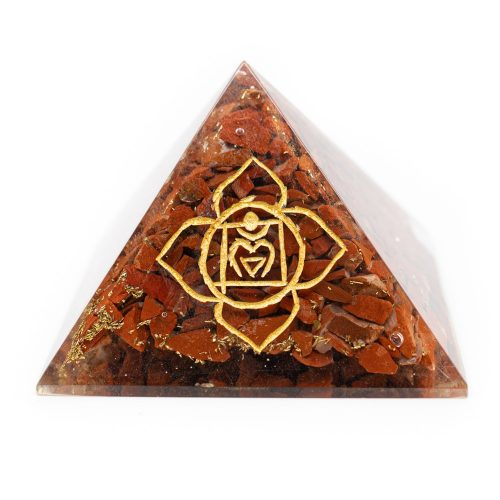 Orgoniet Piramide - Basis Chakra - Rode Jaspis (70 mm)