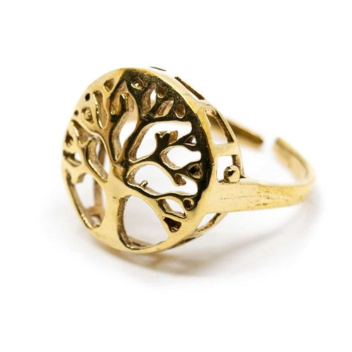 Verstelbare Ring Tree of Life Goudkleurig (20 mm)