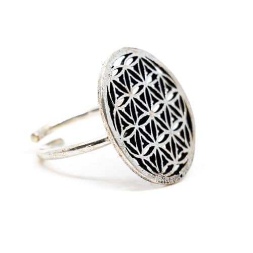 Verstelbare Ring Flower of Life Zilverkleurig