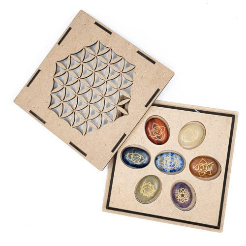 Chakra Edelstenen Zakstenen Set in Flower of Life Opbergdoos